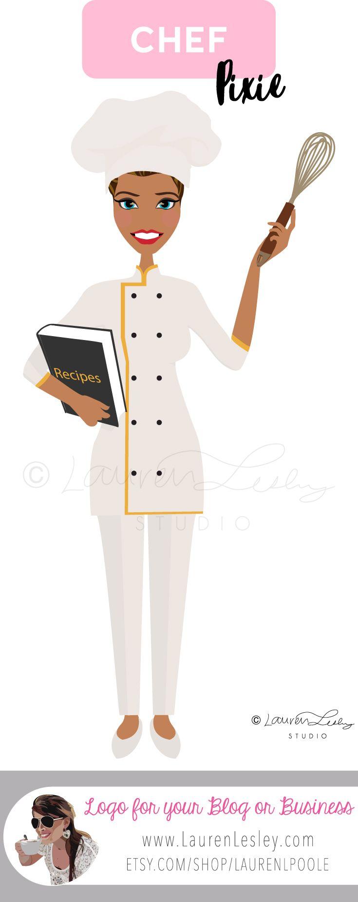 Chef Baker Clip Art Illustration Portrait Logo Personalized Customized Vector Art Clip Art Chef Dress Female Chef