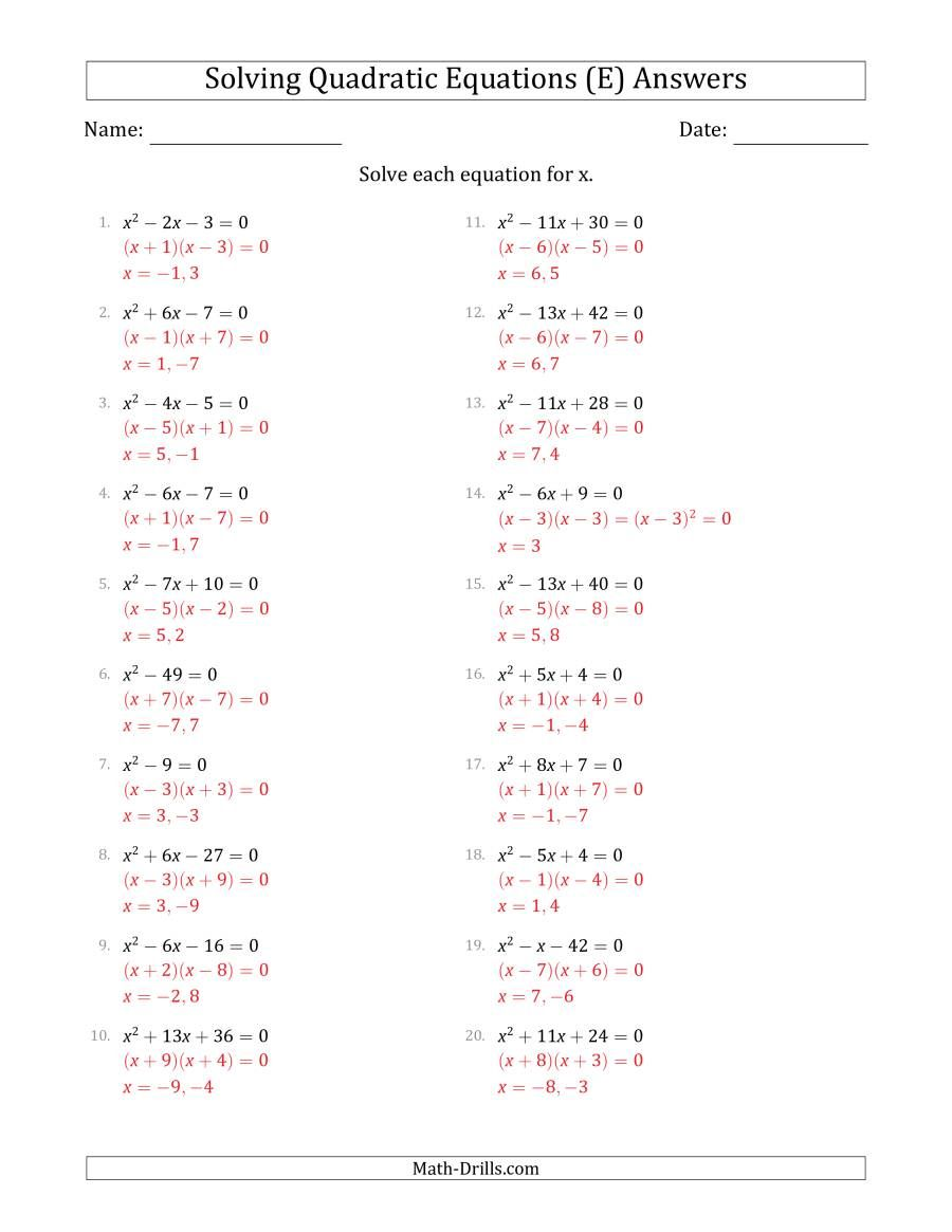 The Solving Quadratic Equations With Positive A Coefficients Of 1 E Math Worksheet Page 2 In 2020 Quadratics Quadratic Equation Solving Quadratic Equations