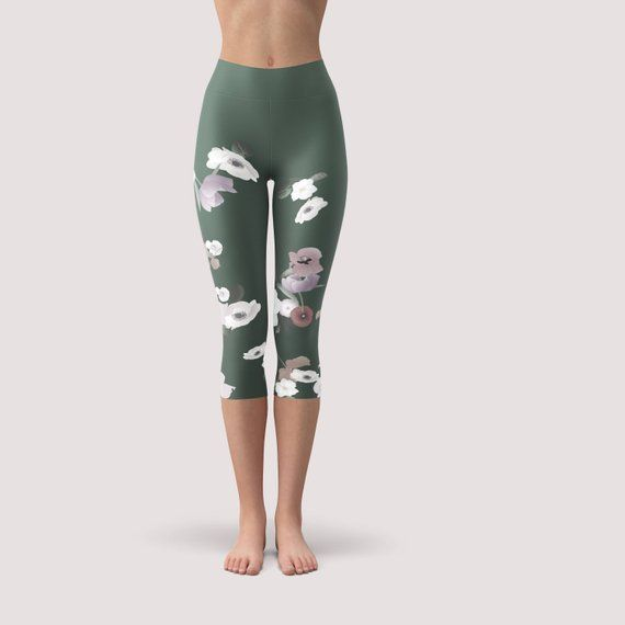 c4dda723e49891 Olive green floral yoga capris, High waisted summer leggings, fitness pants.  Womens workout clothes, short workout leggings. Active wear.
