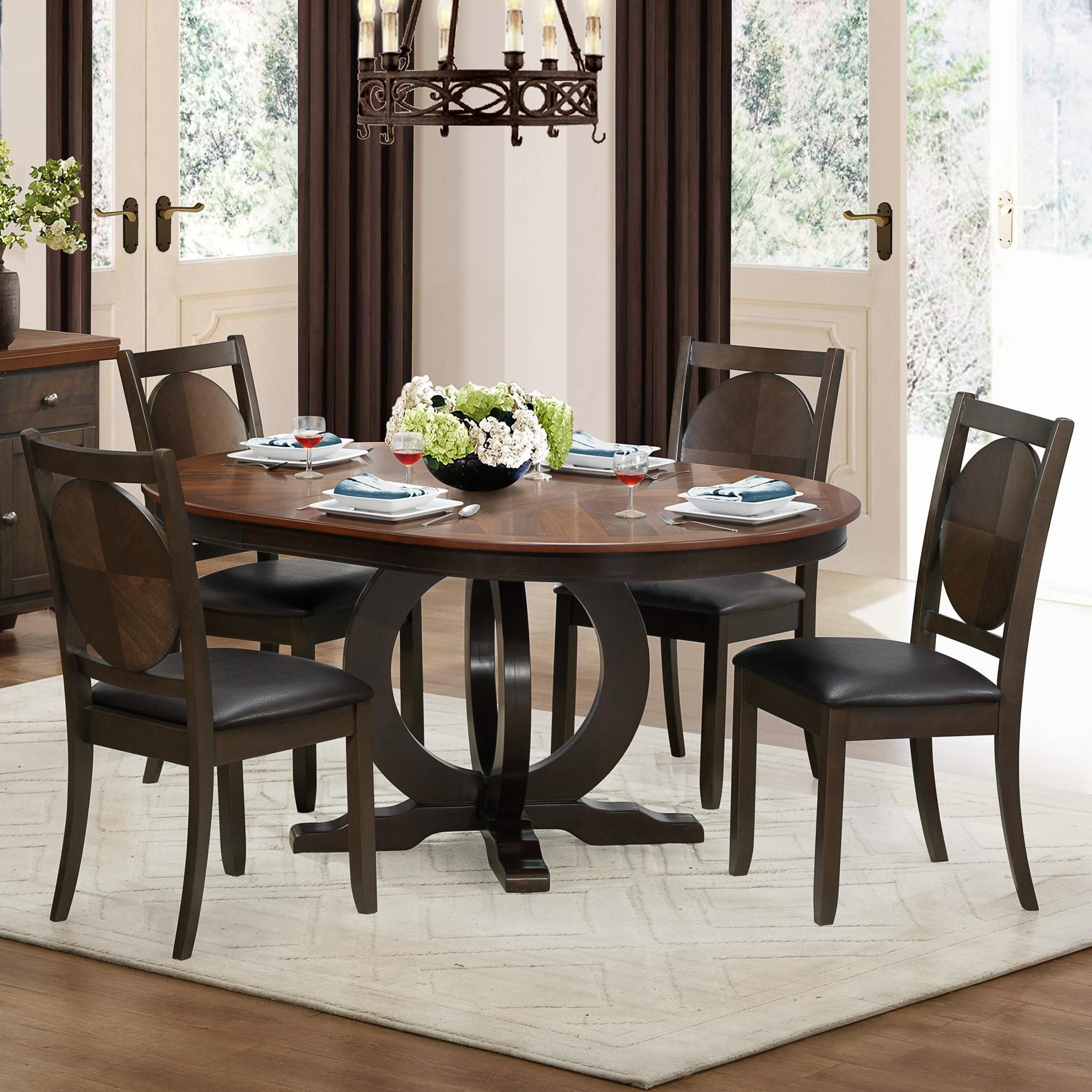 5111 5 Piece Dining Set With Round Table By Homelegance At Del Sol Furniture