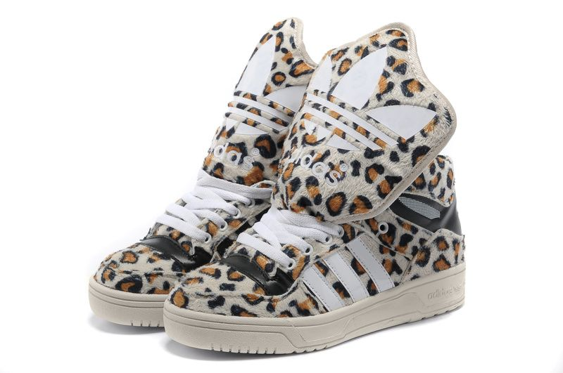 Adidas m atteggiamento logo w grande lingua leopardo bianco, adidas m atteggiamento