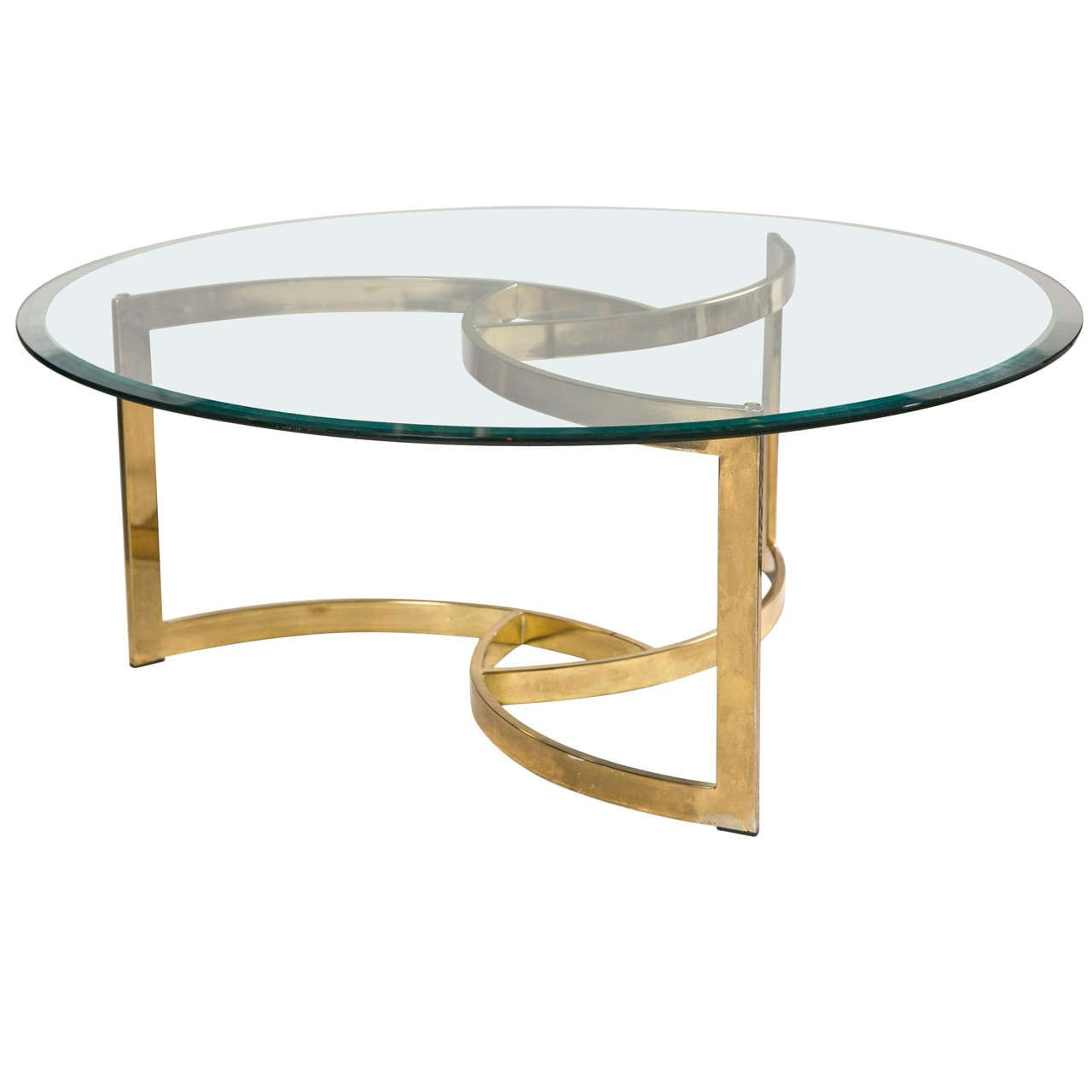 Round Glass Top Table With Golden Base Made From Metal With