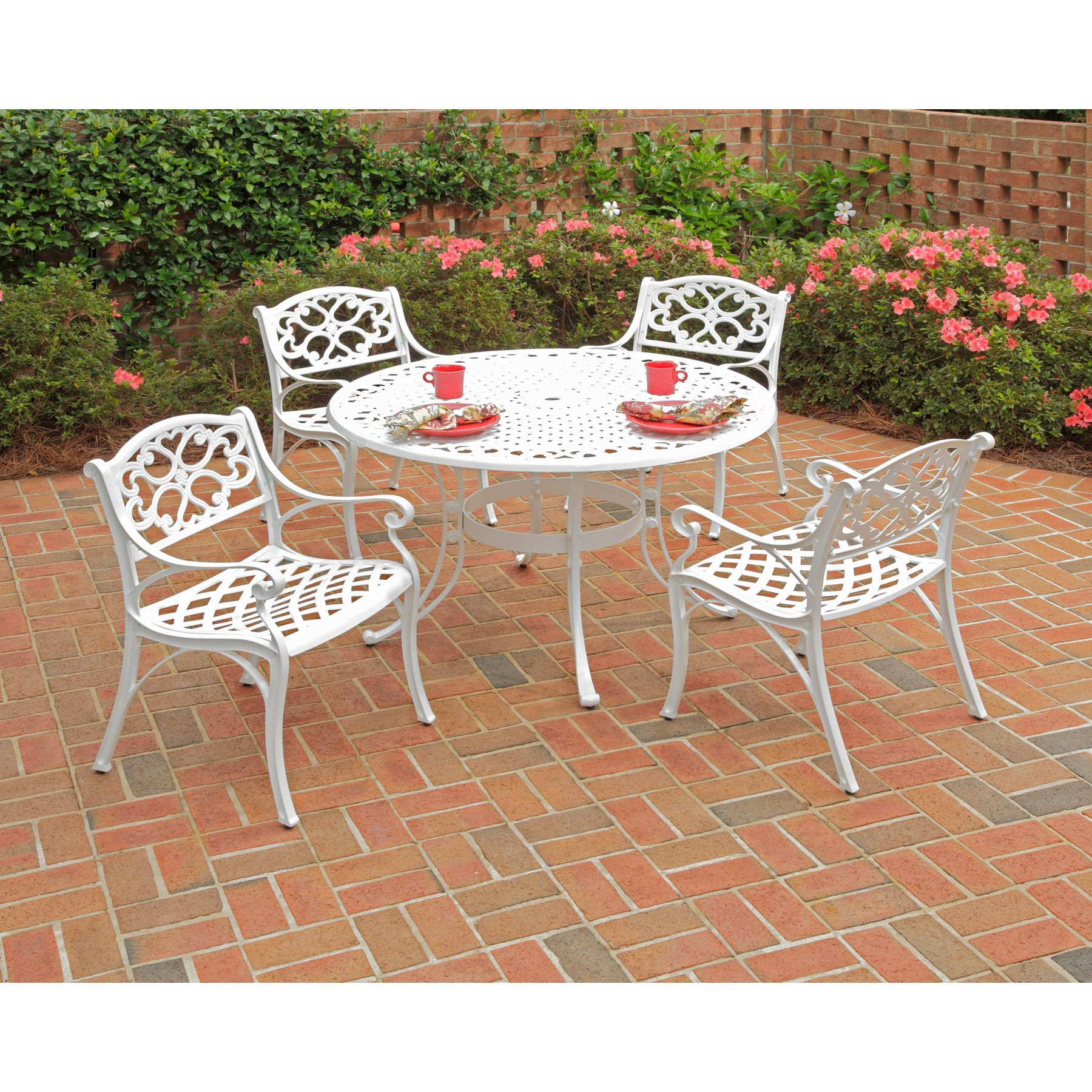 Home Styles Biscayne 5 Piece 42 Inch White Cast Aluminum Outdoor