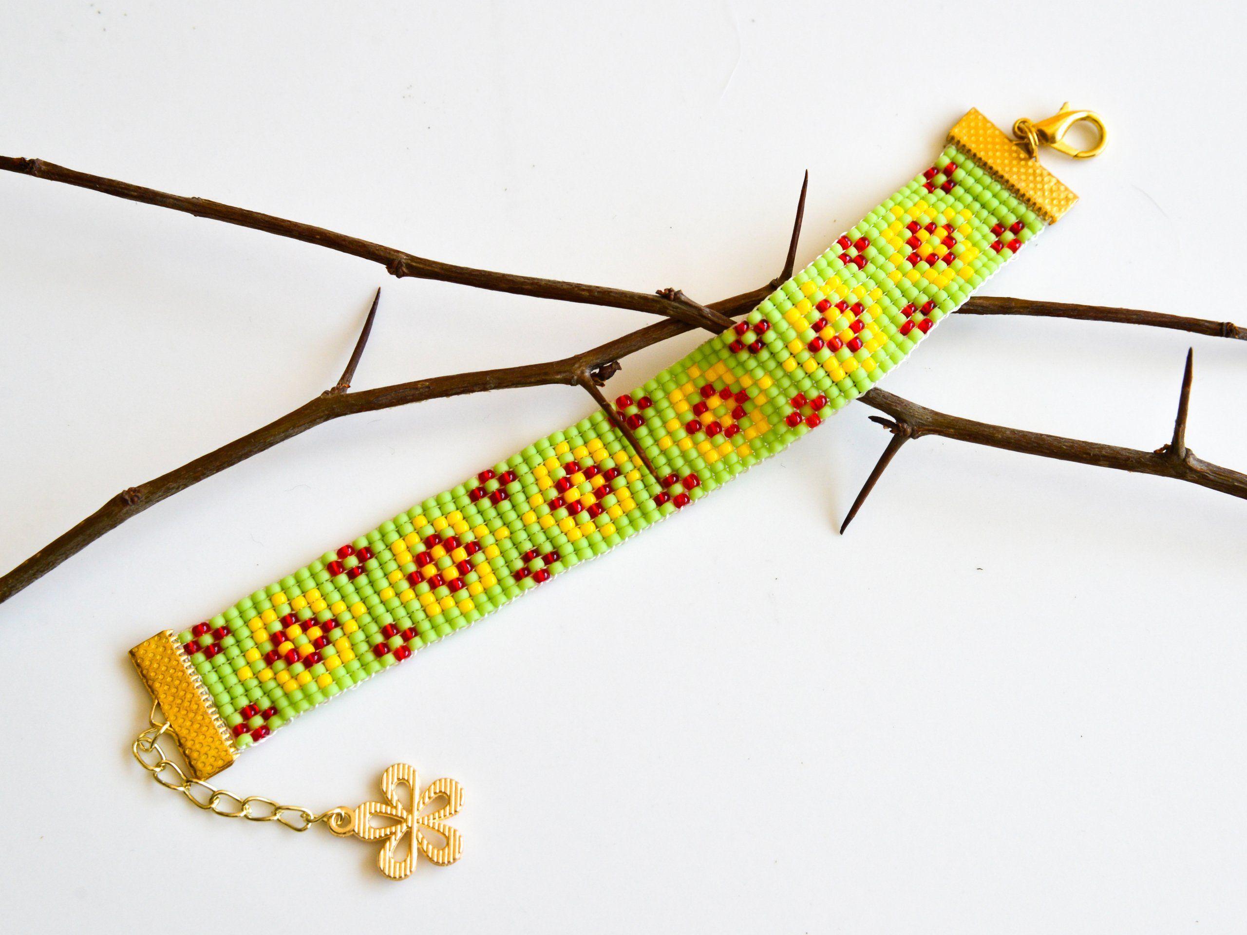 Bransoletka Zielona Zolta Boho Etno Prezent 7253344555 Oficjalne Archiwum Allegro Embroidered Friendship Bracelet Friendship Bracelets Embroidered
