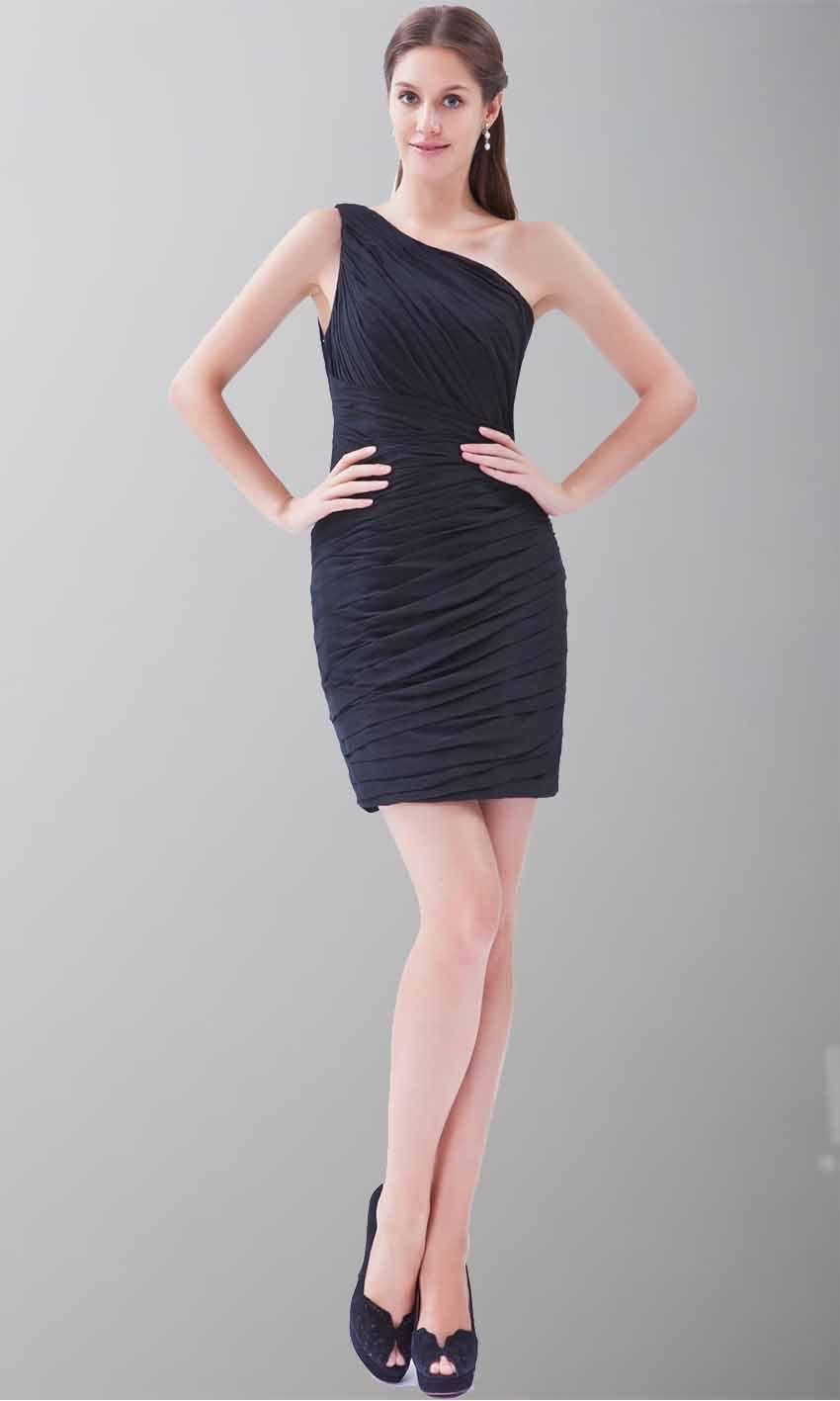 One shoulder black dress cheap