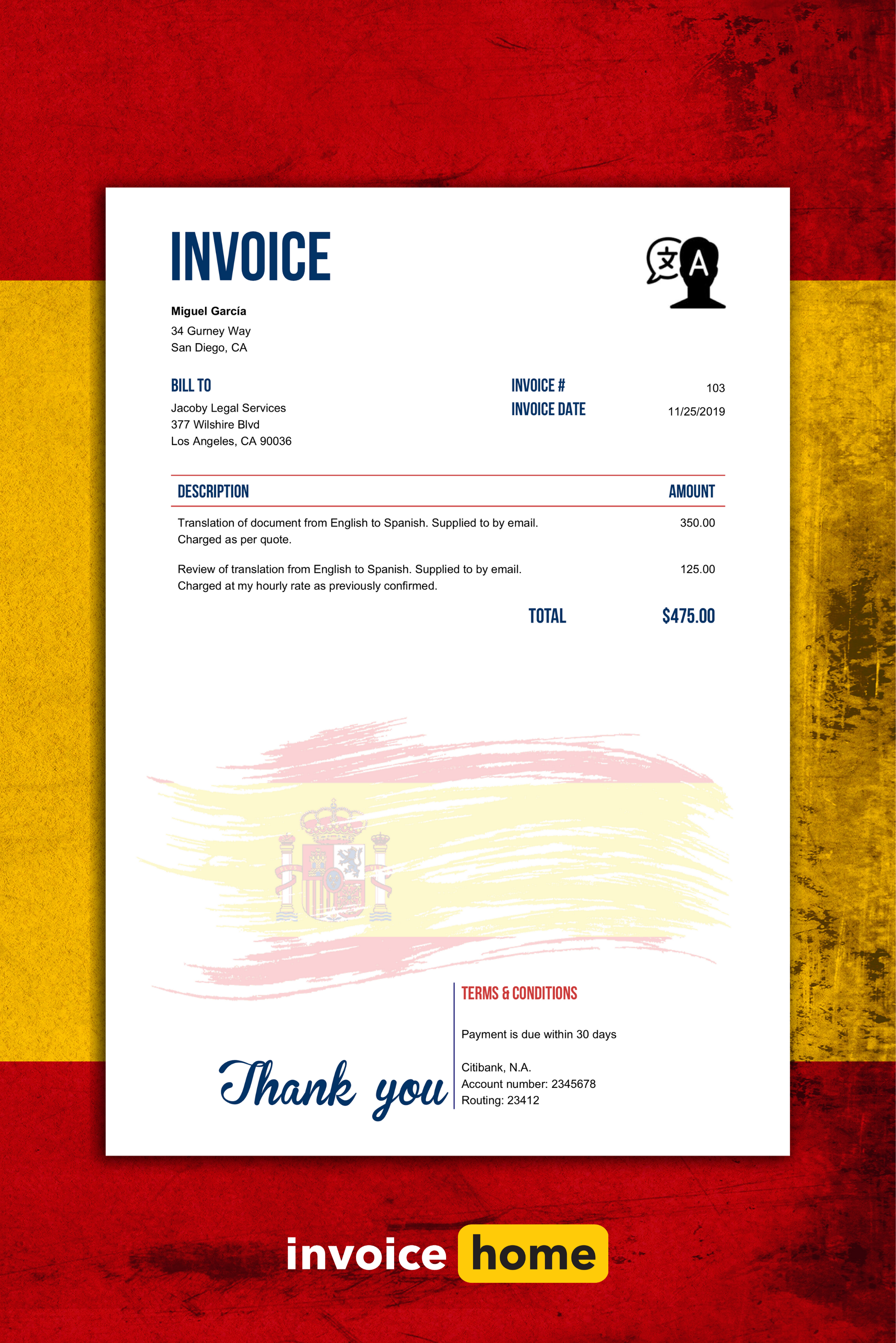 ¡Magnífico! Add Spanish flair to your invoices with our