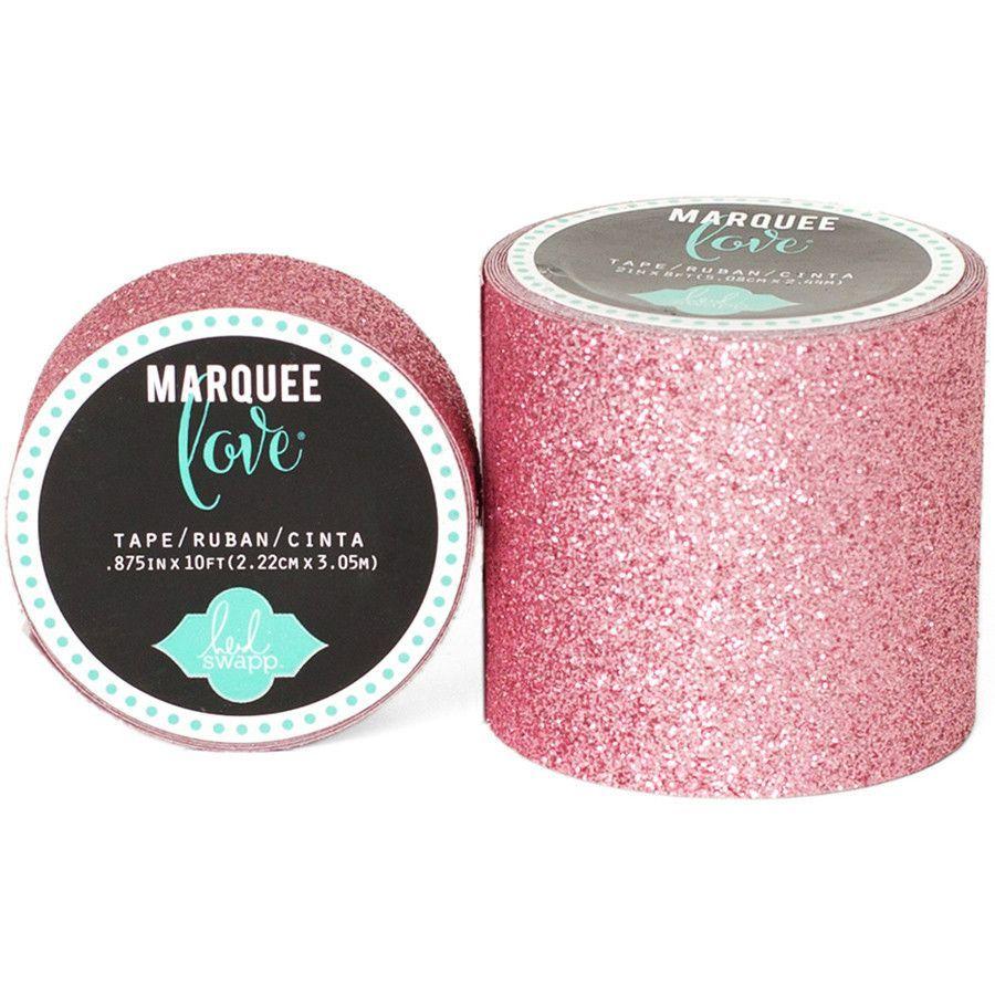 "Heidi Swapp Marquee Love Washi Tape - 2"" Pale Pink Glitter 8'"