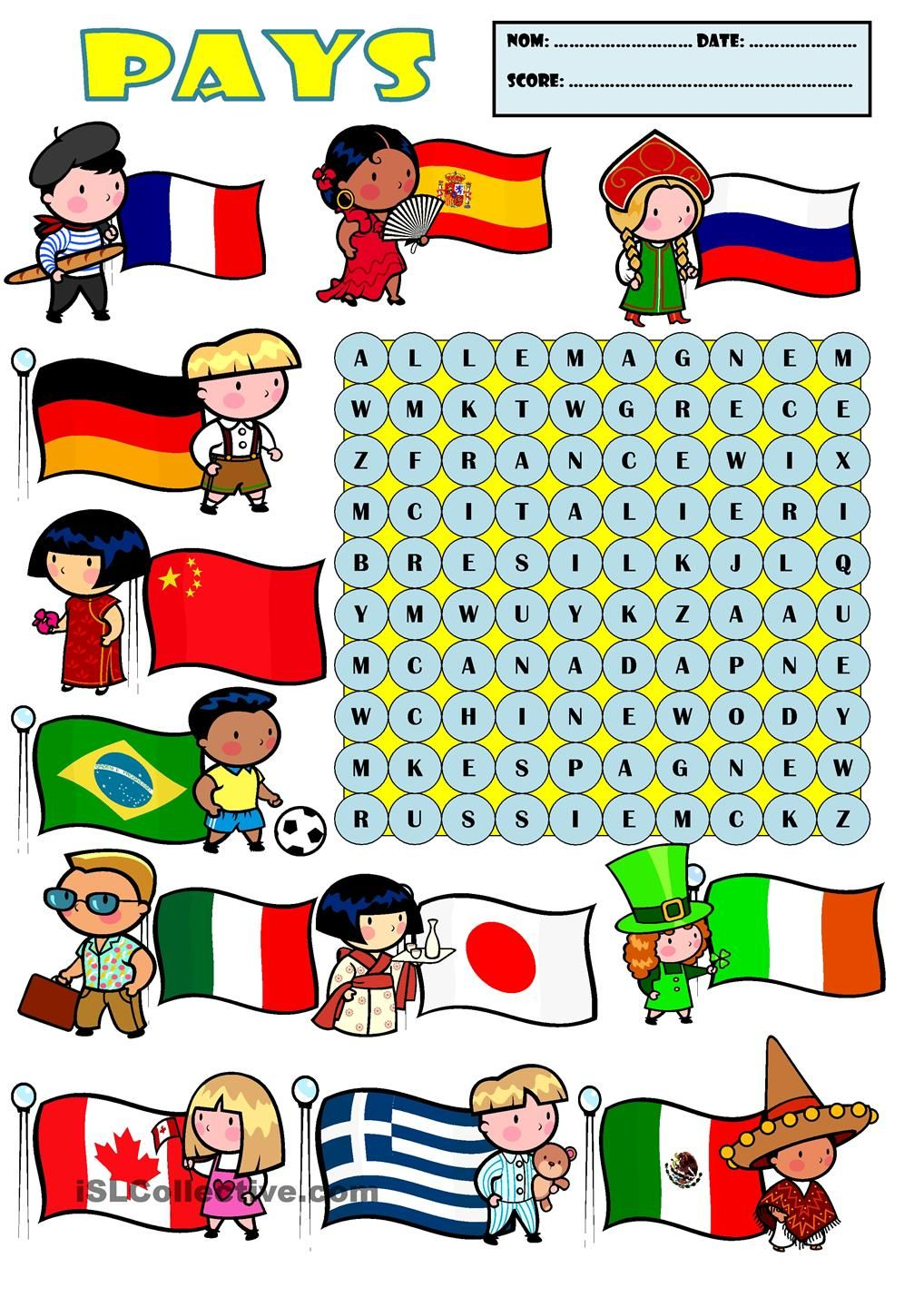 Les pays | AB initio French | Pinterest | Worksheets, Teaching ...
