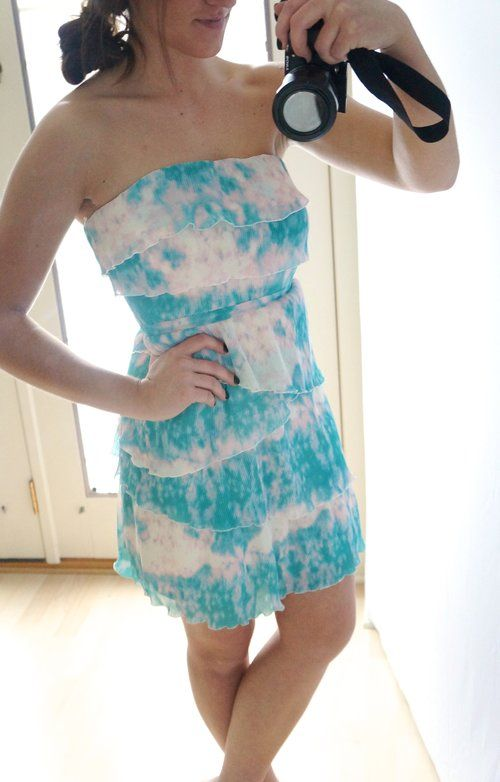 Urban Outfitters Watercolor Ruffle Strapless Dress - $38 on sale in my #threadflip closet! Gorgeous Aqua & Pink.