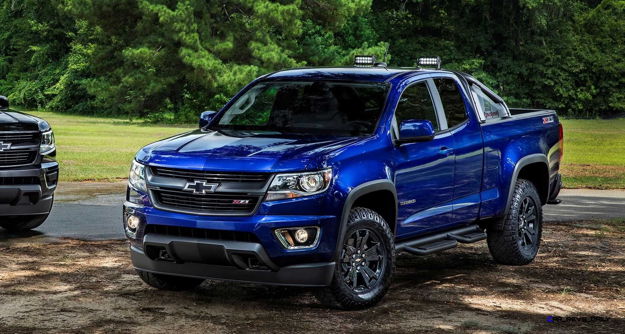 L To R 2016 Chevrolet Colorado Midnight Edition And Trail Boss Chevrolet Colorado Chevy Colorado New Chevy Truck