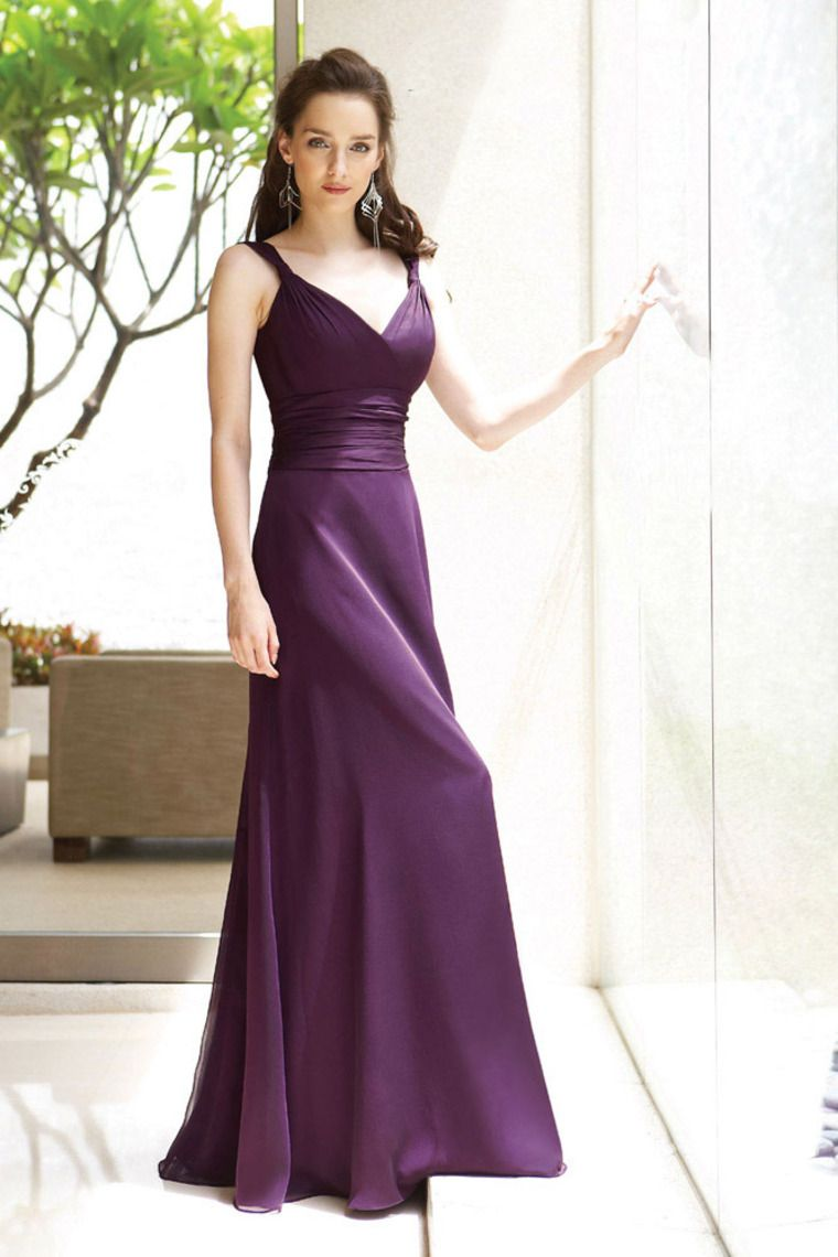 Vintage Floor Length Spaghetti Straps A Line Bridesmaid Dresses With ...