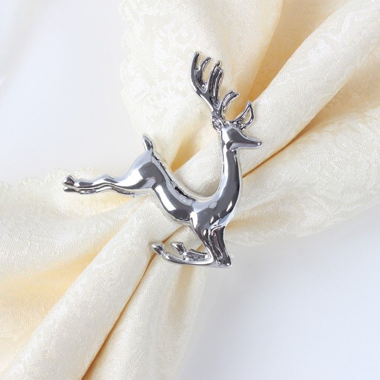Shiny Silver Deer Napkin Rings