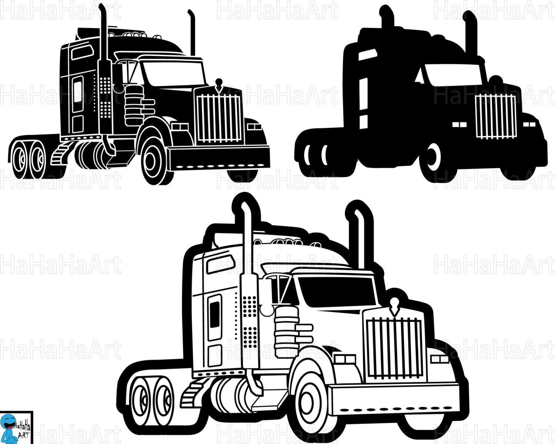 Truck 18 Wheeler Monogram Clipart Cutting Files Svg Png