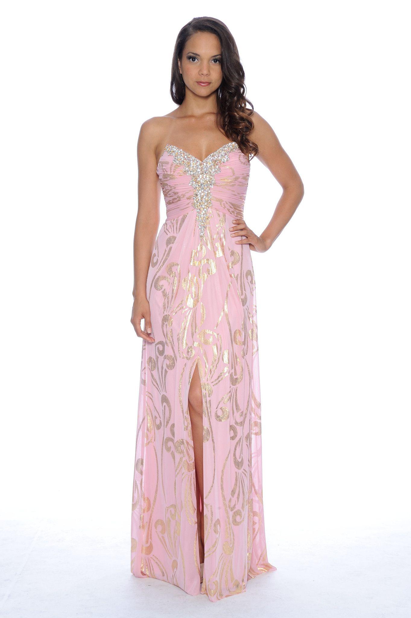 Fabulous Center slit dress (Golden flower Edition) - Blush Gold ...