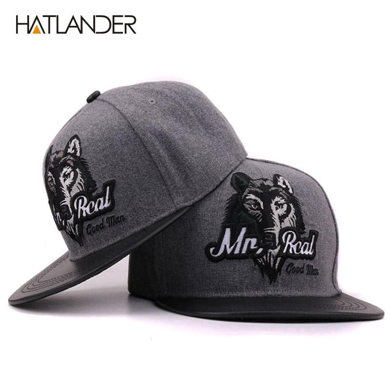 quality design 224eb 00d65 Grey men hip hop baseball cap fitted flat hat bone snap back outdoor  Embroidery Wolf caps