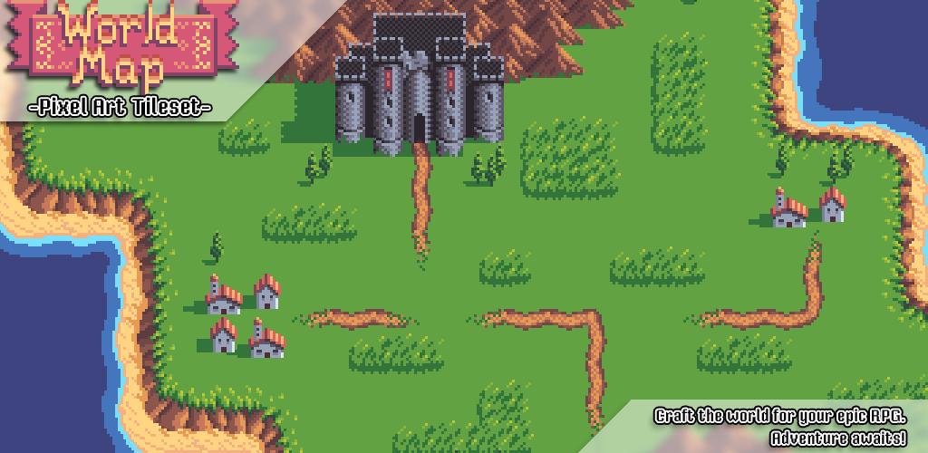 World Map - Pixel Art Tileset | Game Maps | Pixel art, Map, Art