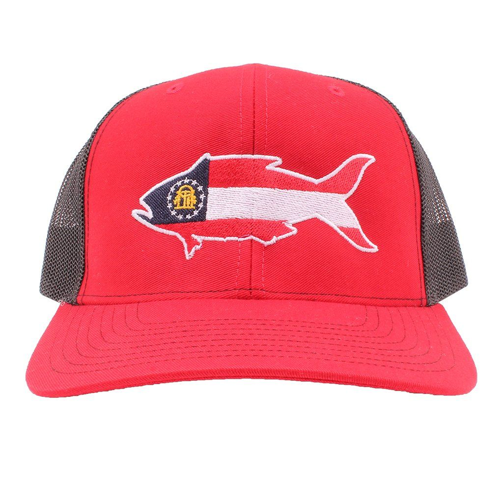 7cbb2261b9a47 Georgia Flag Snapper Hat in Red and Black by Southern Snap Co in ...