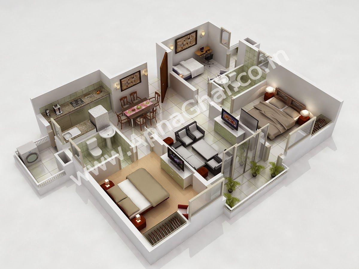 3d 3 bedroom house plans - Isometric 3d Room Google Search 3 Bedroom Househouse Floor Planshouse