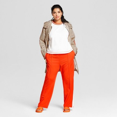 bfc6d4cca00 Hunter for Target Women s Plus Size Tapered Side Snap Track Pants - Orange    Target