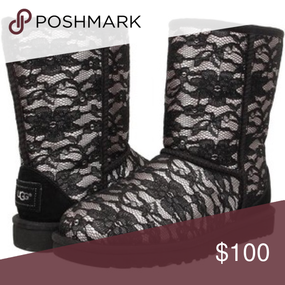 58f13a06fb0 uggs antoinette short boot Black and silver lace. crystals on heel ...
