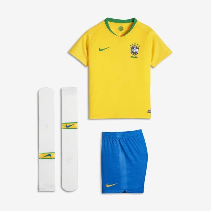 a600a49820 Nike 2018 Brasil CBF Stadium Home Little Kids  Soccer Kit