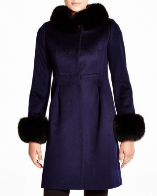 Maximilian Pleated Bubble Coat with Fox Trim - Bloomingdale's Exclusive | Bloomingdale's