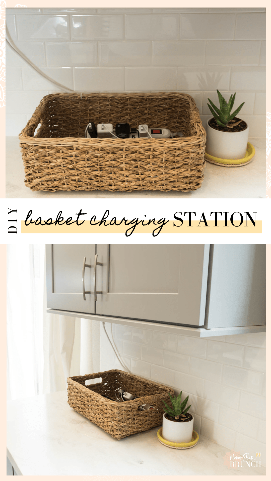 Organize Your Devices With An Easy Diy Basket Charging Station Never Skip Brunch Bedroom Organization Diy Kitchen Organization Diy Home Diy