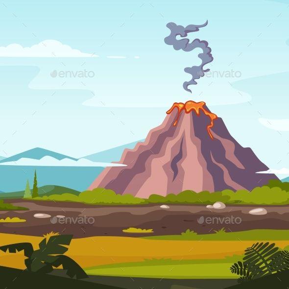 Wild Landscape With Volcano And Lava Cartoon Cartoon Background Nature Vector Volcano