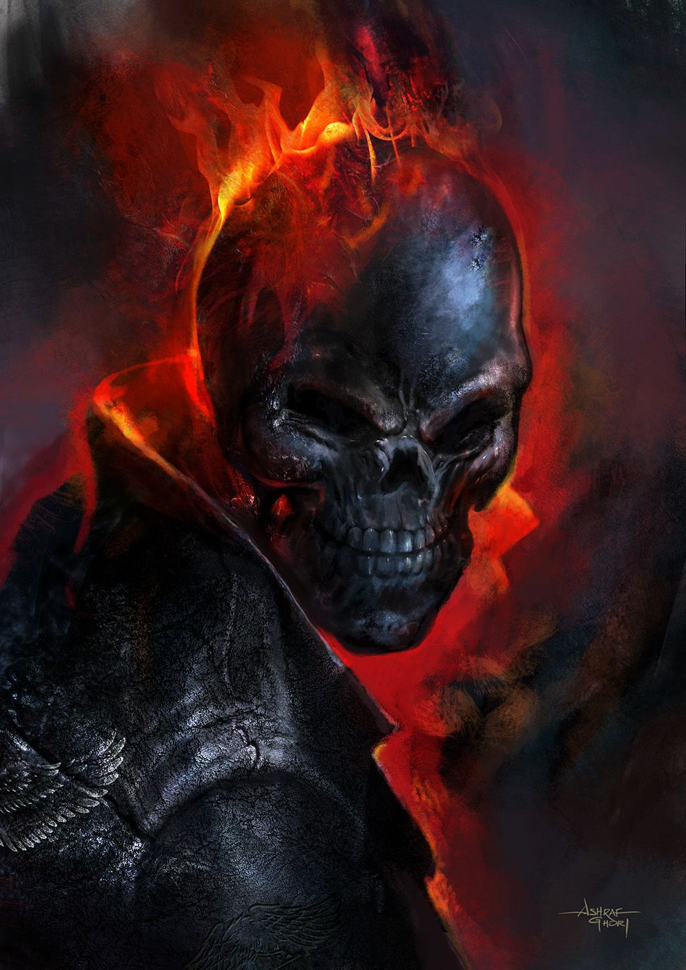 Ghost Rider by sixfrid on DeviantArt  |Ghost Rider Digital Painting Photoshop