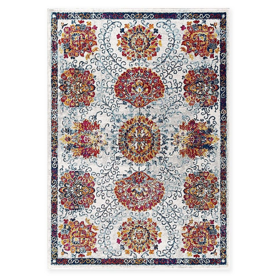 Modway Kensie Trellis 5 X 8 Area Rug In Ivory Red Moroccan