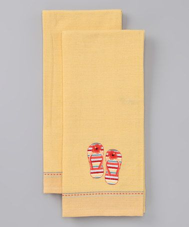 Take a look at this Yellow Flip-Flop Dish Towel - Set of Two by Coastal Home Collection on #zulily today!