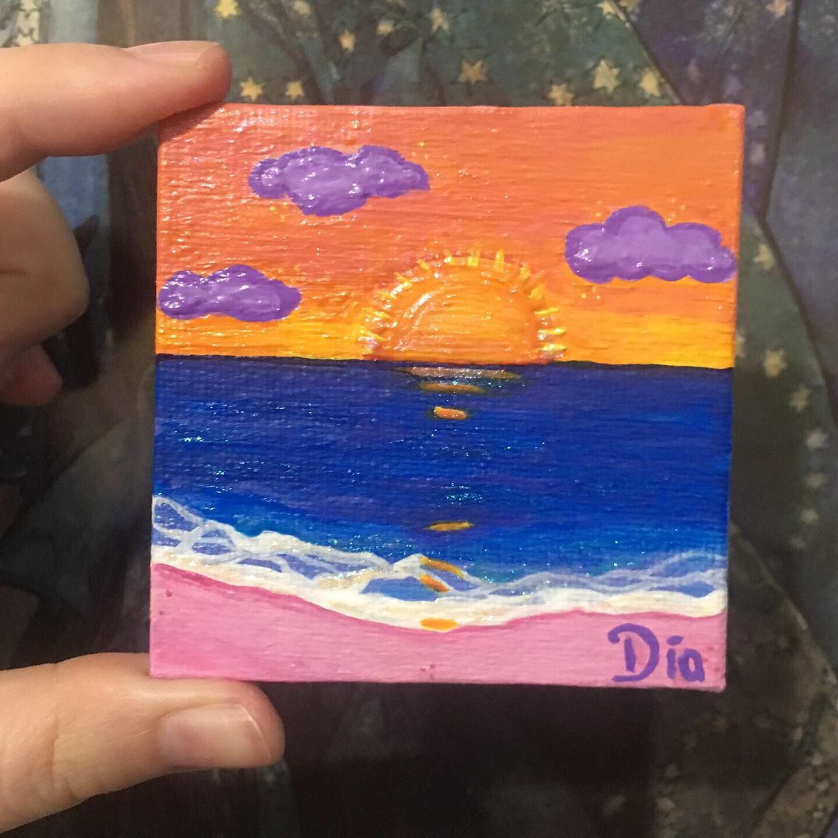 Tiny painting I made for a giveaway  #sun #beach #painting #minipainting #art #artwork #artforsale