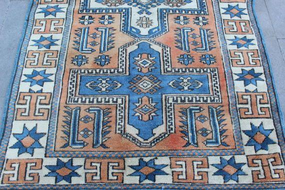 "Vintage Turkish Rug, Anatolian Handmade Home Decor Blue Wool Oushak Area Rug Carpet, Vintage Oushak Decorative Rug Carpet- 125x77cm,49""x30"""