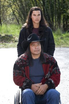 """Taylor LAUTNER and Gil Birmingham in one of the Twilight movies. Taylor has  """"distant"""" Native American ancestry (specifically Ottawa and Potawatomi). Gil is Comanche."""