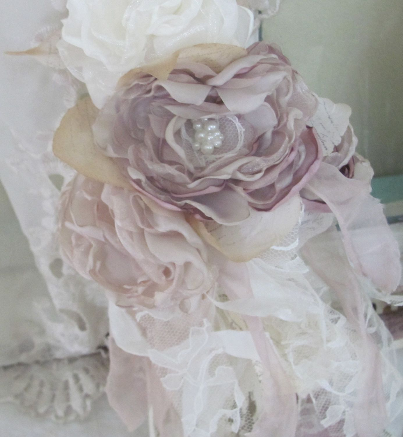 Wedding Flowers Reception Decorations Dusty Rose Fabric Flowers Set of 12