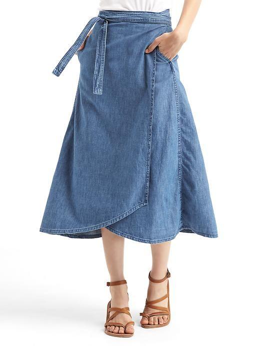 8a5d85f747c Gap Women 1969 Denim Wrap Skirt