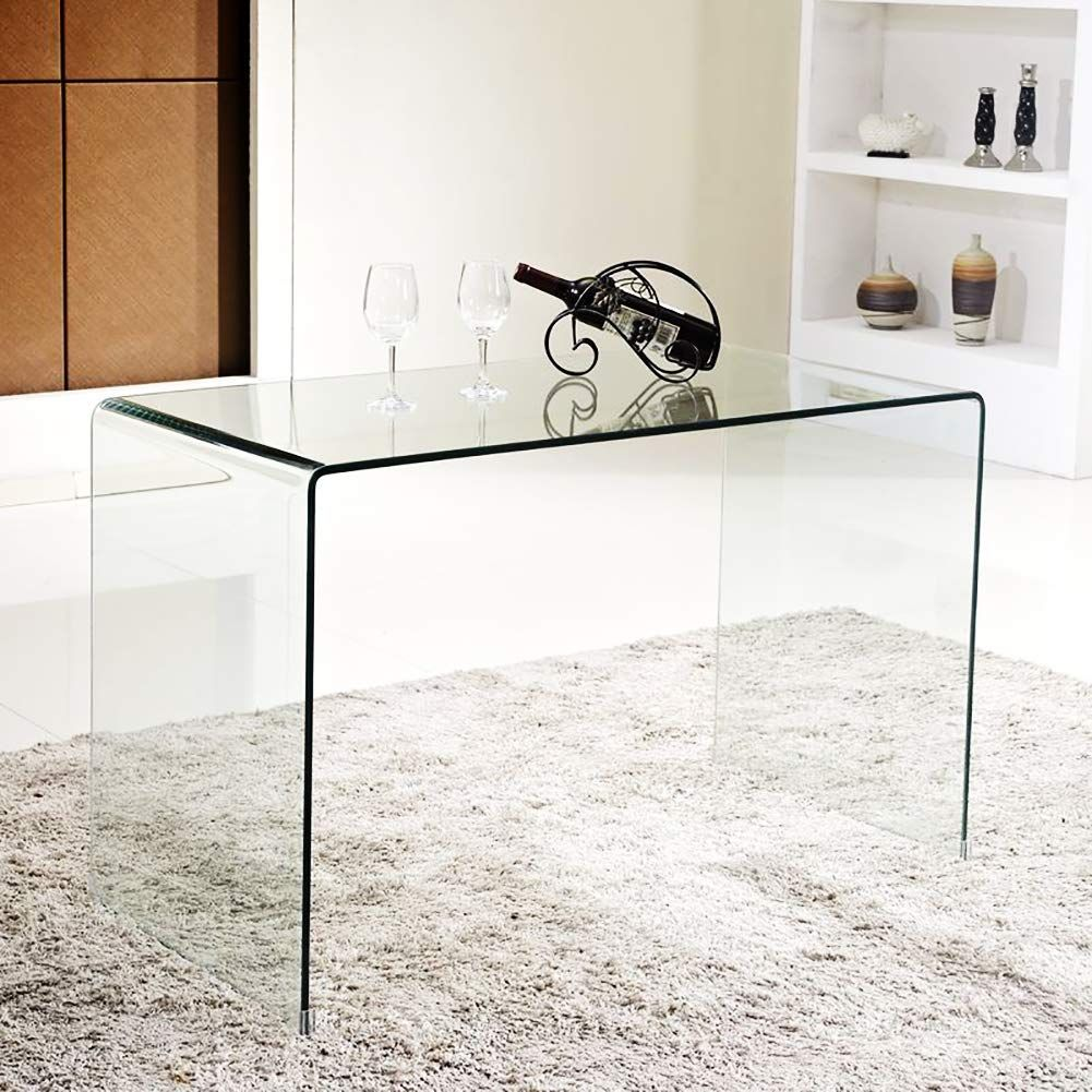 Amazonsmile Smartyk Transparent Glass Dining Table Clear Bent Modern Home Office Furniture T Modern Home Office Furniture Clear Coffee Table Living Room Table [ 1001 x 1001 Pixel ]