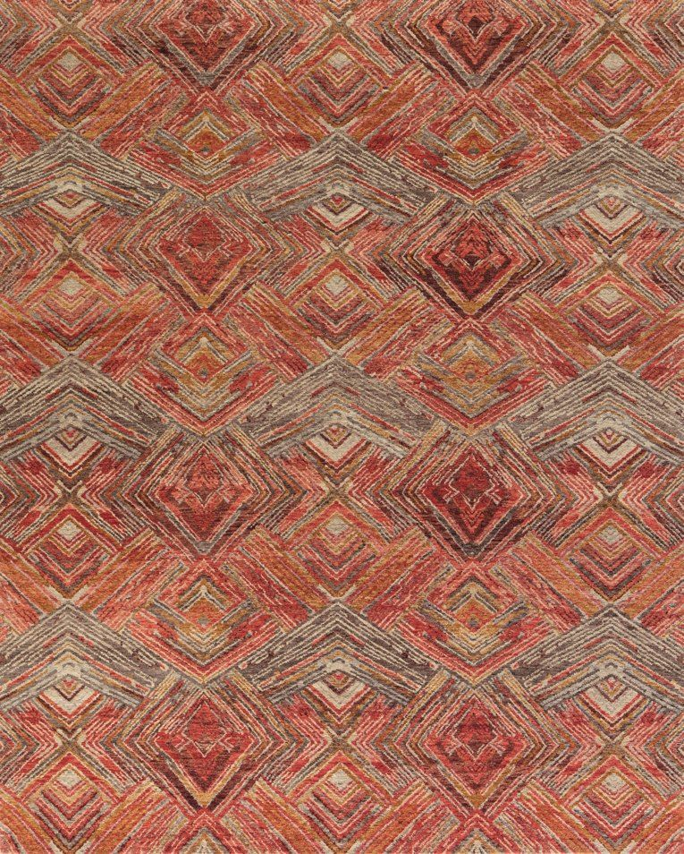 Stark Studio Canan Crimson Hand Made Red And Orange Wool Rug Nepal Rugs Rugs On Carpet Canaan