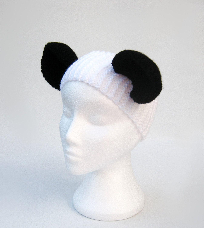 Panda bear animal ear headband ear warmer black and white knit and ...