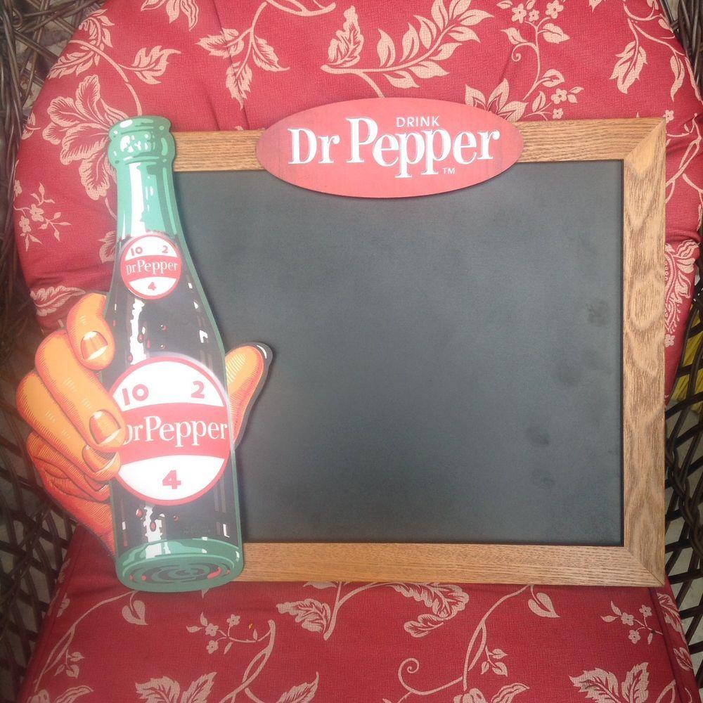Vintage Style Dr. Pepper Bottle Chalkboard Sign Pub Game Room Wood