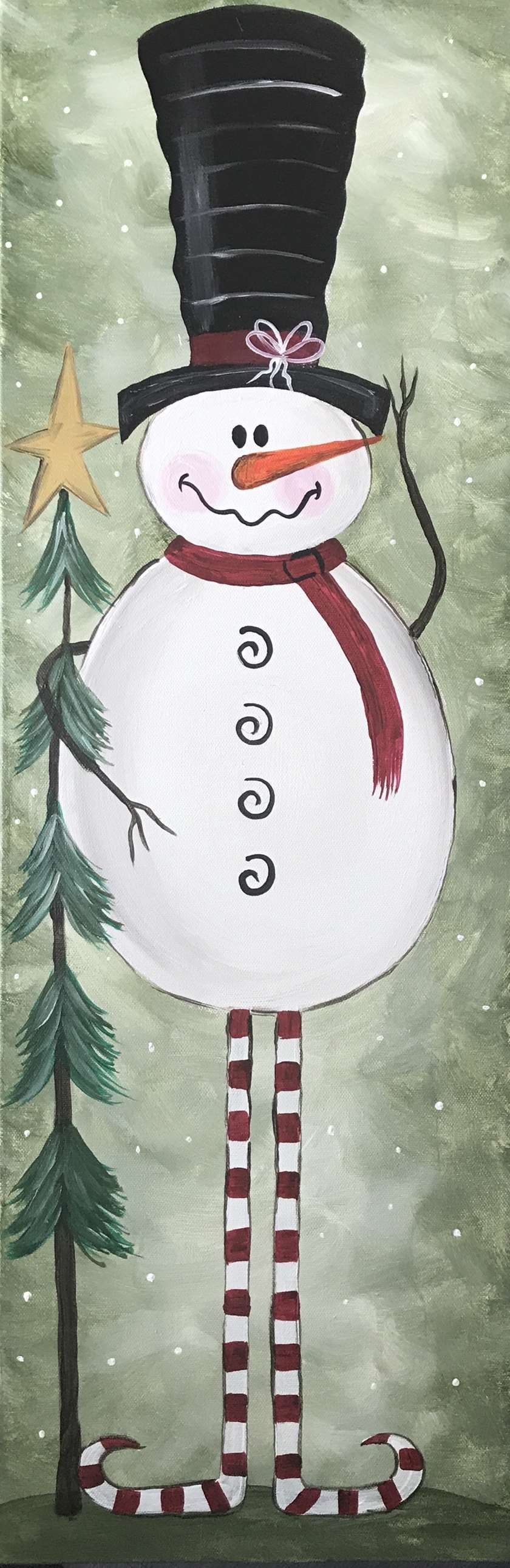 Snowman! Paint this on a 10x30 canvas, Friday November 30th from 7-10 pm! This charming vintage snowman's personality just jumps off this canvas!!