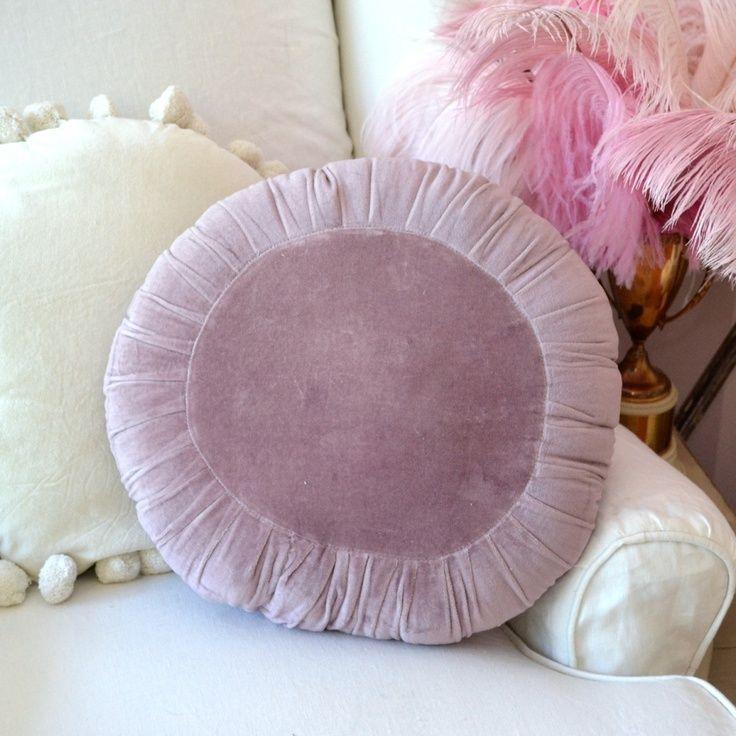Round Velvet Floor Pillow Purple Round Velvet Pom Pom