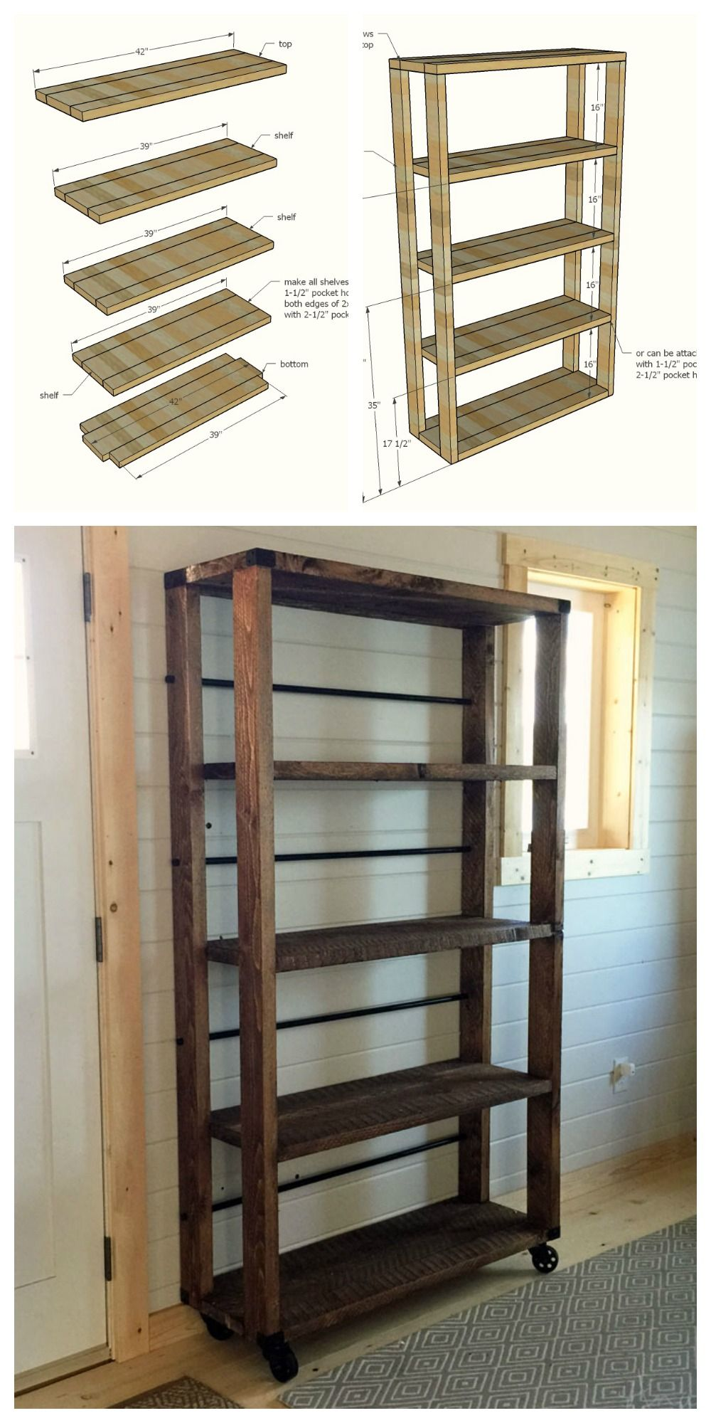 Ana white build a reclaimed wood rolling shelf free for Diy industrial bookshelf