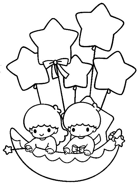 Little Twins Star13 Star Coloring Pages Hello Kitty Colouring Pages Hello Kitty Drawing