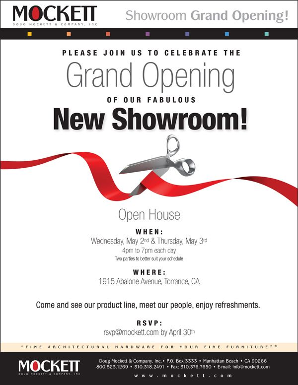 Mockett Showroom Showroom and Business cards - best of formal invitation for opening ceremony
