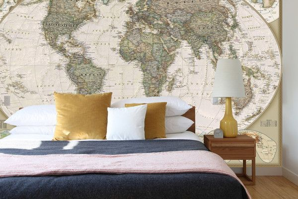 Old world map wall mural bedroom wall decal ancient world map mural wallpaper gumiabroncs Images