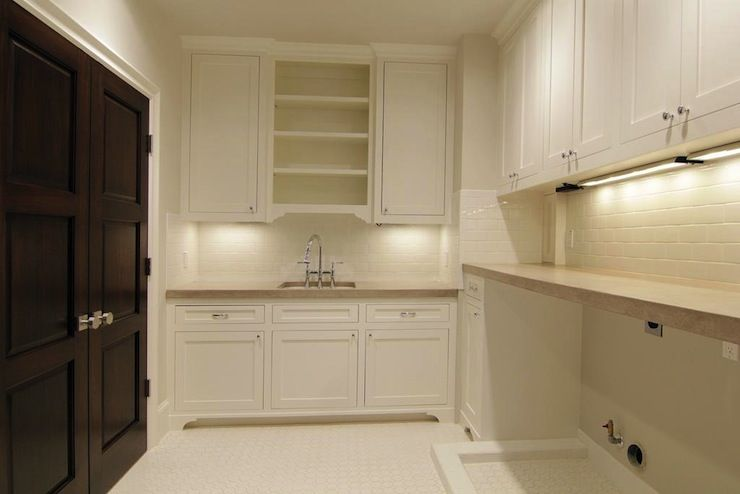 Room Laundry With Floor To Ceiling White Cabinets