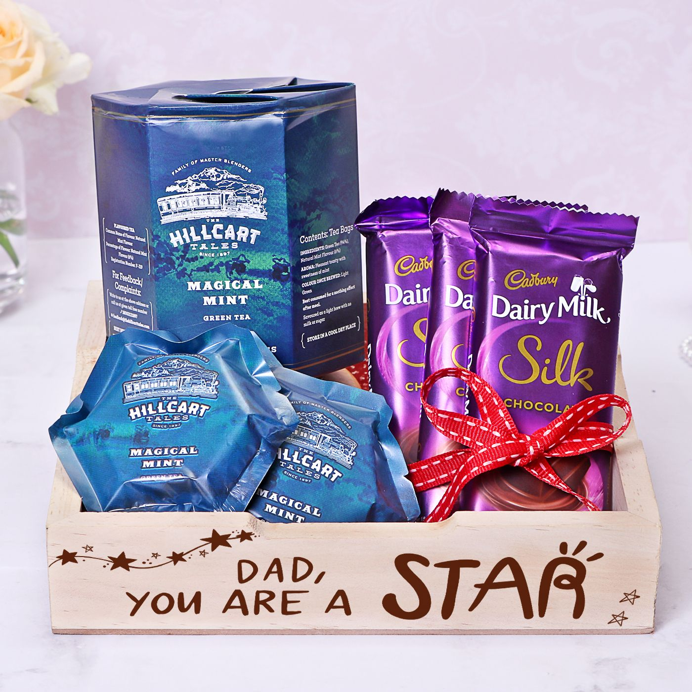 Handmade Tea Gift Box with Father's Day Flowers - Father's Day