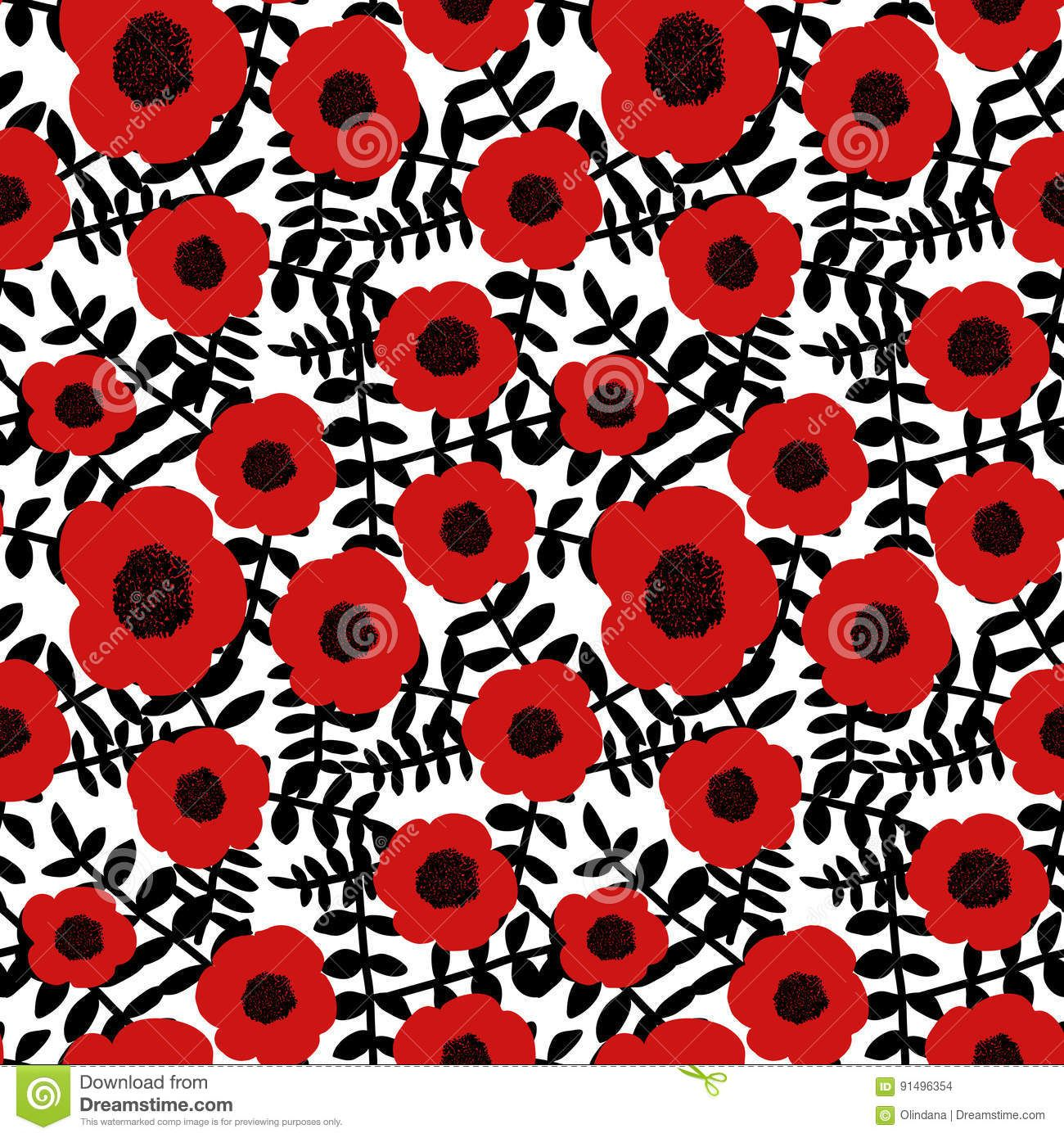 Seamless Floral Pattern Hand Drawn Abstract Red Poppy Flowers Black Twigs Leaves White Background Fabric Wallpa Floral Illustrations Red Poppies Poppy Flower