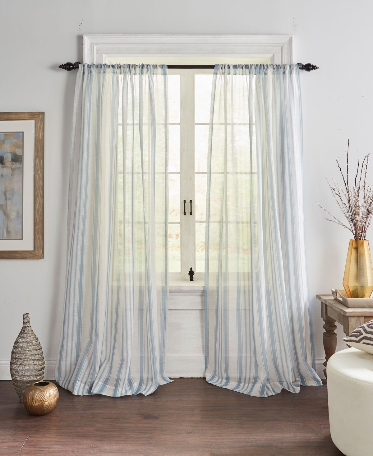 Elrene Hampton Stripe Sheer Window Curtain Reviews Home Macy S Elrene Home Fashions Curtains Living Room Panel Curtains Sheer curtain ideas for living room